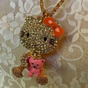 Hello Kitty Teddy Bear Rhinestone Necklace